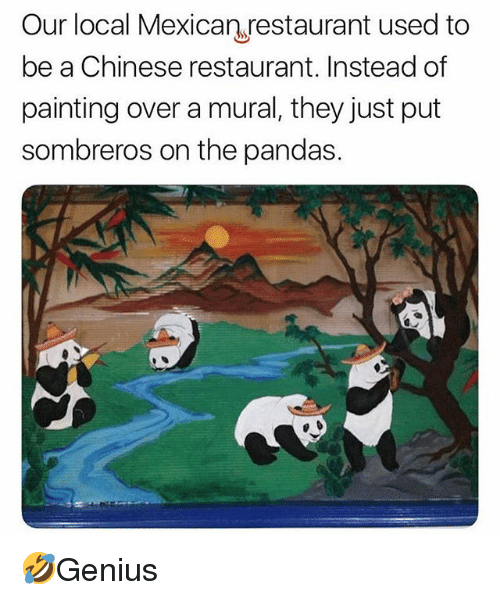 Memes, Chinese, and Restaurant: Our local Mexican restaurant used to  be a Chinese restaurant. Instead of  painting over a mural, they just put  sombreros on the pandas. 🤣Genius