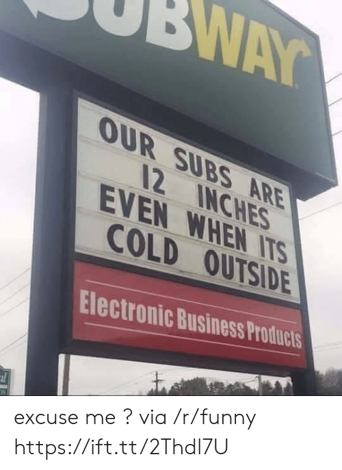 Funny, Business, and Cold: OUR SUBS ARE  12 INCHES  COLD OUTSIDE  Electronic Business Products  EVEN WHEN ITS excuse me ? via /r/funny https://ift.tt/2Thdl7U