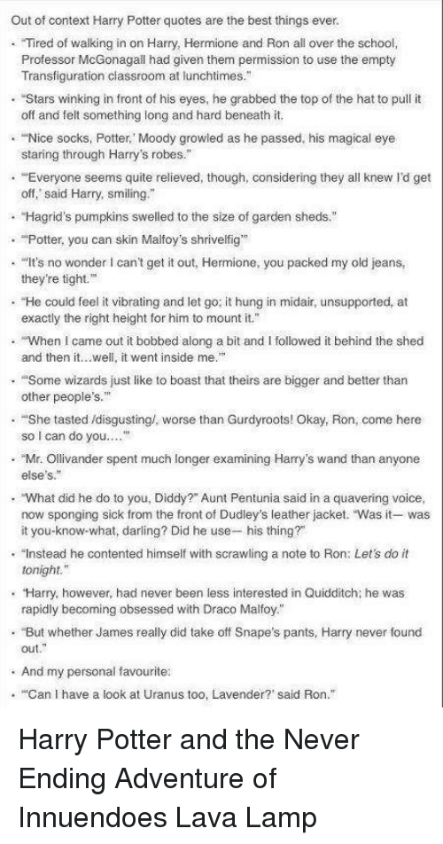 out of context harry potter quotes are the best things ever tired