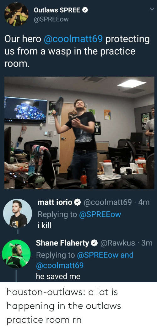 Tumblr, Blog, and Houston: Outlaws SPREE  aSPREEow  Our hero @coolmatt69 protecting  us from a wasp in the practice  room  HOUS  lin   matt iorio @coolmatt69 4m  Replying to @SPREEow  i kill   Shane Flaherty@Rawkus  Replying to @SPREEow and  @coolmatt69  he saved me  3m houston-outlaws:  a lot is happening in the outlaws practice room rn