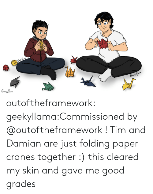 Target, Tumblr, and Blog: outoftheframework:  geekyllama:Commissioned by @outoftheframework ! Tim and Damian are just folding paper cranes together :) this cleared my skin and gave me good grades