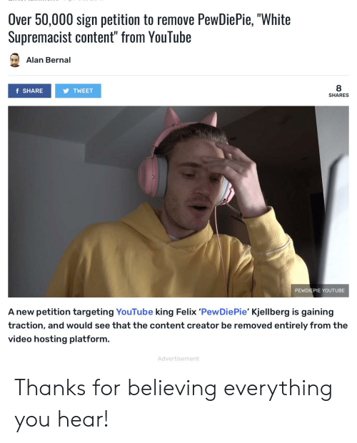 Over 50000 Sign Petition to Remove PewDiePie White Supremacist
