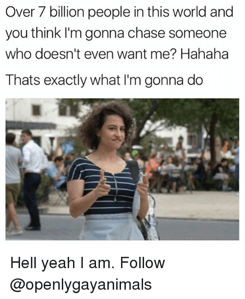Memes, Yeah, and Chase: Over 7 billion people in this world and  you think l'm gonna chase someone  who doesn't even want me? Hahaha  Thats exactly what I'm gonna do Hell yeah I am. Follow @openlygayanimals