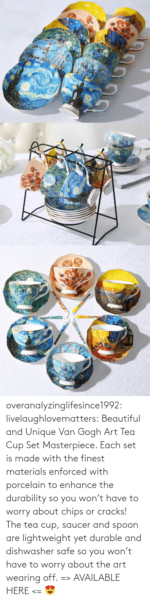 Beautiful, Tumblr, and Blog: overanalyzinglifesince1992: livelaughlovematters:  Beautiful and Unique Van Gogh Art Tea Cup Set Masterpiece. Each set is made with the finest materials enforced with porcelain to enhance the durability so you won't have to worry about chips or cracks! The tea cup, saucer and spoon are lightweight yet durable and dishwasher safe so you won't have to worry about the art wearing off. => AVAILABLE HERE <=    😍