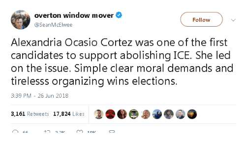 Simple, Led, and Ice: overton window mover  @SeanMcElwee  Follow  Alexandria Ocasio Cortez was one of the first  candidates to support abolishing ICE. She led  on the issue. Simple clear moral demands and  tirelesss organizing wins elections  3:39 PM -26 Jun 2018  3,161 Rehweets 17,824 Likesee