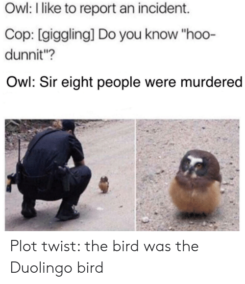 Owl I Like to Report an Incident Cop Giggling Do You Know