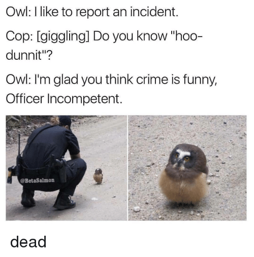 "Black Twitter, Cops, and Owl: Owl: like to report an incident.  Cop: giggling] Do you know ""hoo-  dunnit""?  Owl: I'm glad you think crime is funny,  Officer Incompetent  @BetaSalmon dead"