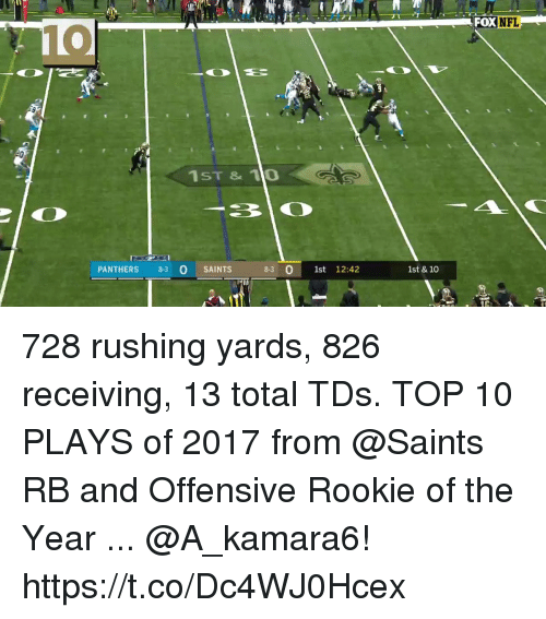 Memes, New Orleans Saints, and Panthers: OXNFL  10  1ST & 10  30  PANTHERS 83 O SAINTS  0  8-3 0 1st 12:42  1st & 10 728 rushing yards, 826 receiving, 13 total TDs.  TOP 10 PLAYS of 2017 from @Saints RB and Offensive Rookie of the Year ... @A_kamara6! https://t.co/Dc4WJ0Hcex
