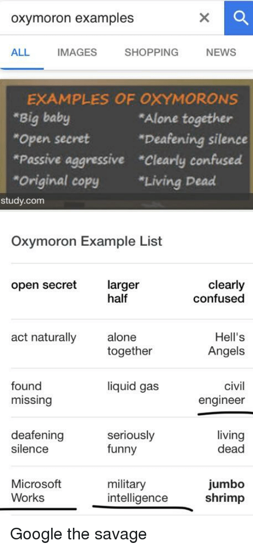 oxymoron examples all images shopping news examples of oxymorons big