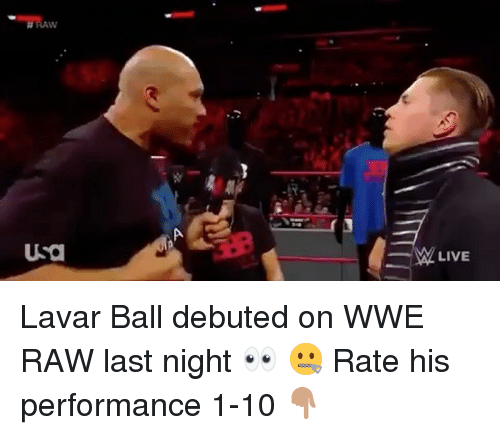 Basketball, Be Like, and Sports: PA  USO  W LIVE Lavar Ball debuted on WWE RAW last night 👀 🤐 Rate his performance 1-10 👇🏽