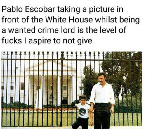 Crime, Pablo Escobar, and White House: Pablo Escobar taking a picture in  front of the White House whilst being  a wanted crime lord is the level of  fucks I aspire to not give