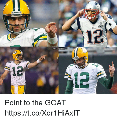 Football, Memes, and Nfl: PACKERS  12  @NFL MEMES  12  2 Point to the GOAT https://t.co/Xor1HiAxIT