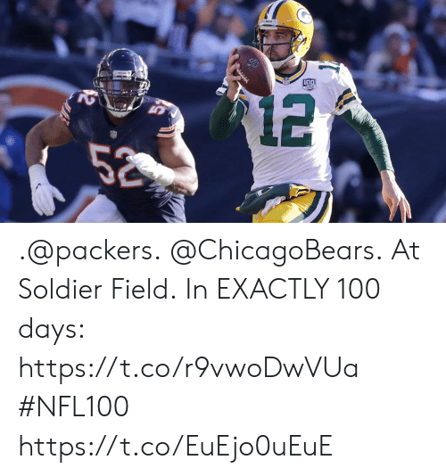 Memes, Packers, and 🤖: .@packers. @ChicagoBears. At Soldier Field.  In EXACTLY 100 days: https://t.co/r9vwoDwVUa #NFL100 https://t.co/EuEjo0uEuE
