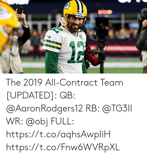 Memes, Packers, and 🤖: PACKERS The 2019 All-Contract Team [UPDATED]:  QB: @AaronRodgers12  RB: @TG3II WR: @obj FULL: https://t.co/aqhsAwpIiH https://t.co/Fnw6WVRpXL