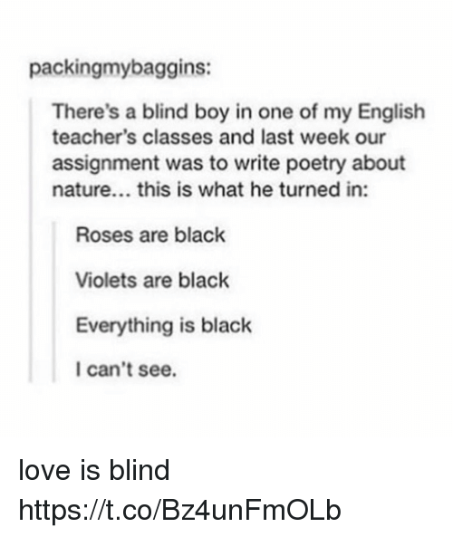 Love, Black, and Nature: packingmybaggins:  There's a blind boy in one of my English  teacher's classes and last week our  assignment was to write poetry about  nature... this is what he turned in:  Roses are black  Violets are black  Everything is black  I can't see. love is blind https://t.co/Bz4unFmOLb