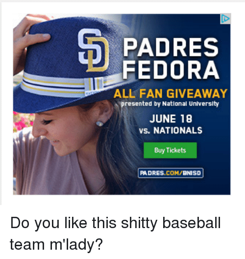 3ad7a019e63db PADRES FEDORA ALL FAN GIVEAWAY Presented by National University JUNE ...
