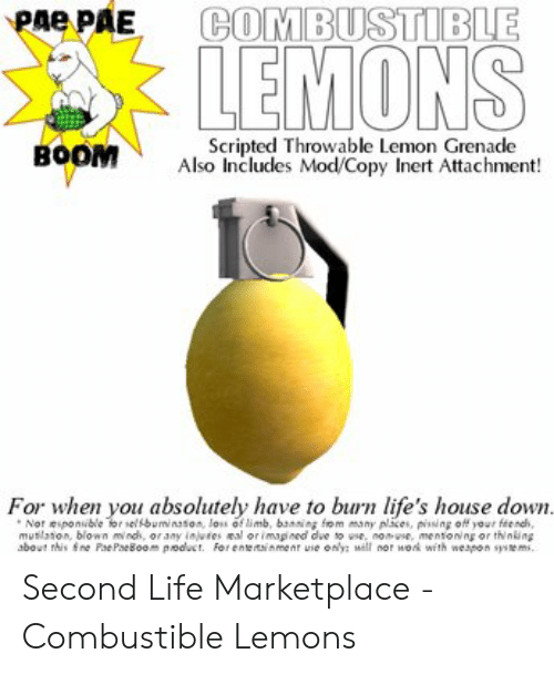 Pae PAE COMBUSTIBLE LEMONS Scripted Throwable Lemon Grenade