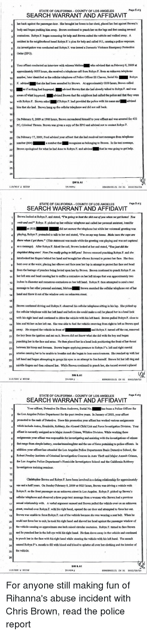 Page 6 of 8 STATE OF CALIFORNIA COUNTY OF LOS ANGELES SEARCH WARRANT