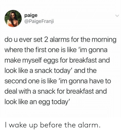 Dank, Alarm, and Breakfast: paige  @PaigeFranji  do u ever set 2 alarms for the morning  where the first one is like 'im gonna  make myself eggs for breakfast and  look like a snack today' and the  second one is like 'im gonna have to  deal with a snack for breakfast and  look like an egg today' I wake up before the alarm.