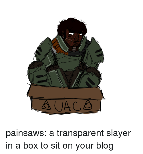 Slayer, Tumblr, and Blog: painsaws:  a transparent slayer in a box to sit on your blog