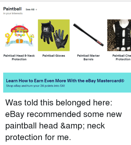Ebay Mastercard Login >> Paintball See All In Your Interests 3e 7 Paintball Head Neck