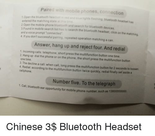 Paired With Mobile Phones Connection 1open The Bluetooth Headset In Red And Blue Lights Flashing Bluetooth Headset Has Entered The Matching State At This Time 2 Open The Mobile Phone Bluetooth And