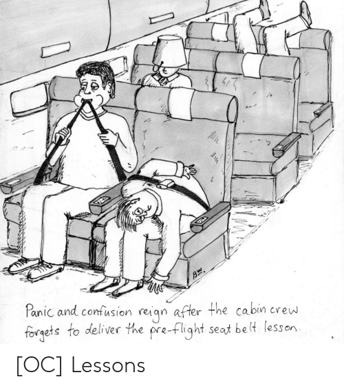Flight, Crew, and Seat: Panic and confusion reiqn after the cabin crew  forgets to deliver the pre-flight seat be lt lesson [OC] Lessons