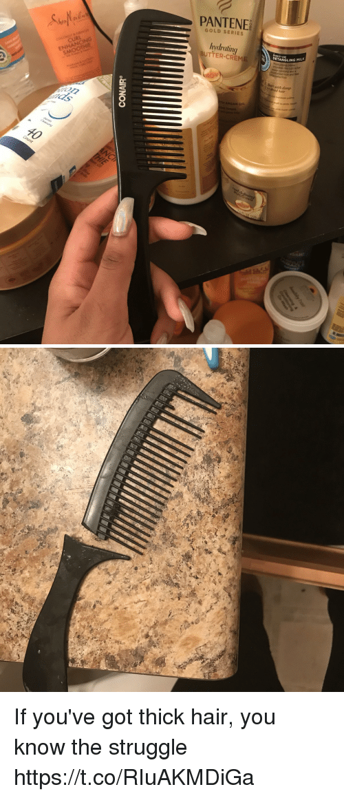 Struggle, Hair, and Relatable: PANTENE  GOLD SERIES  CURL  hydrating  UTTER-CREM  SMOOT  DETANGLING MILK  cuticle for  with damp  hair If you've got thick hair, you know the struggle https://t.co/RIuAKMDiGa