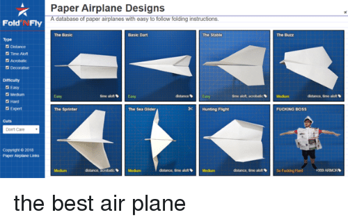 Paper Airplane Designs a Database of Paper Airplanes With