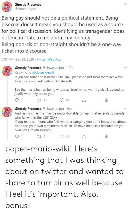 Tumblr, Twitter, and Mario: paper-mario-wiki:  Here's something that I was thinking about on twitter and wanted to share to tumblr as well because I feel it's important. Also, bonus:
