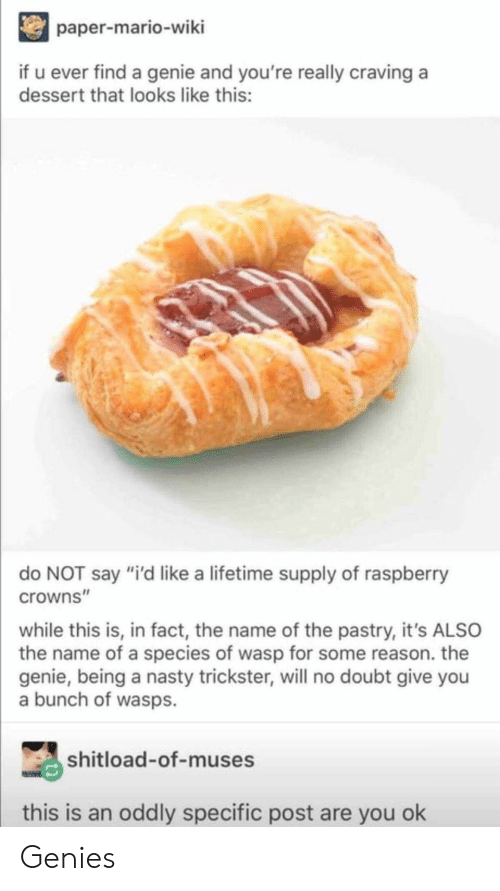 """Nasty, Mario, and Dessert: paper-mario-wiki  if u ever find a genie and you're really craving a  dessert that looks like this:  do NOT say """"i'd like a lifetime supply of raspberry  crowns""""  while this is, in fact, the name of the pastry, it's ALSO  the name of a species of wasp for some reason. the  genie, being a nasty trickster, will no doubt give you  a bunch of wasps.  shitload-of-muses  this is an oddly specific post are you ok Genies"""