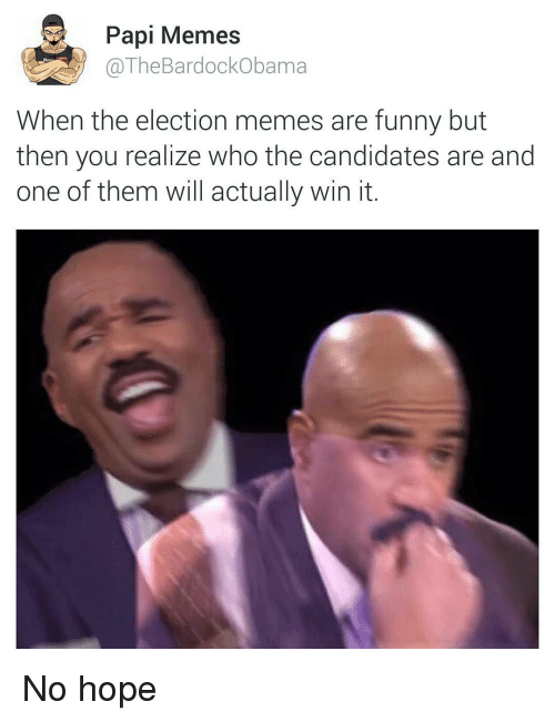 Funny, Meme, and Memes: Papi Memes  The ama  When the election memes are funny but  then you realize who the candidates are and  one of them will actually win it No hope