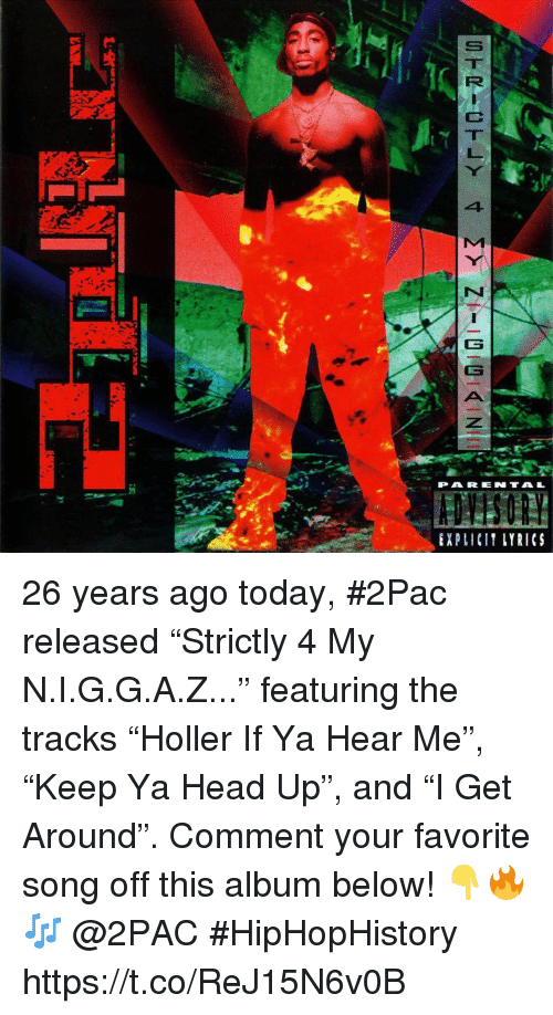 "Head, Lyrics, and Today: PAR ENTAL  EXPLICIT LYRICS 26 years ago today, #2Pac released ""Strictly 4 My N.I.G.G.A.Z..."" featuring the tracks ""Holler If Ya Hear Me"", ""Keep Ya Head Up"", and ""I Get Around"". Comment your favorite song off this album below! 👇🔥🎶 @2PAC #HipHopHistory https://t.co/ReJ15N6v0B"