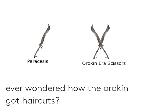 Paracesis Orokin Era Scissors Ever Wondered How The Orokin Got Haircuts Haircuts Meme On Me Me Paracelsus, a nickname dating from about 1529, may denote surpassing celsus; paracesis orokin era scissors ever