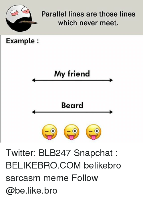 Be Like, Beard, and Meme: Parallel lines are those lines  which never meet.  Example:  My friend  Beard Twitter: BLB247 Snapchat : BELIKEBRO.COM belikebro sarcasm meme Follow @be.like.bro