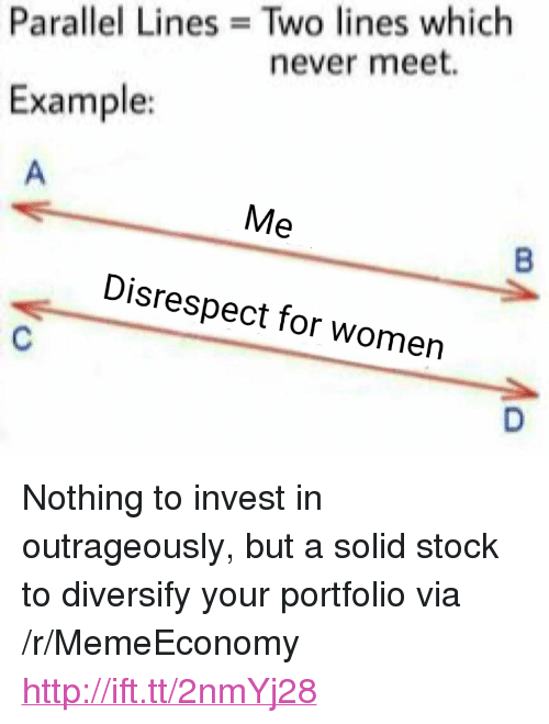 """Http, Women, and Never: Parallel Lines Two lines which  never meet.  Example:  Disrespect for women <p>Nothing to invest in outrageously, but a solid stock to diversify your portfolio via /r/MemeEconomy <a href=""""http://ift.tt/2nmYj28"""">http://ift.tt/2nmYj28</a></p>"""
