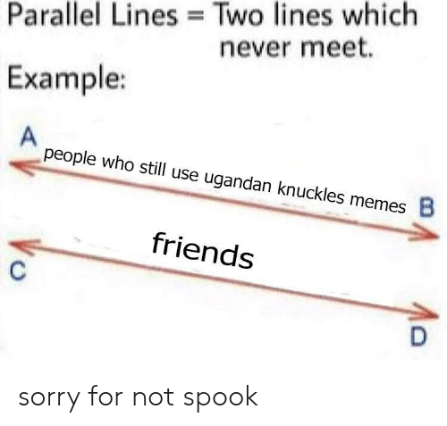 Friends, Memes, and Sorry: Parallel Lines Two lines which  never meet.  Example:  people who still use ugandan knuckles memes  8  friends sorry for not spook