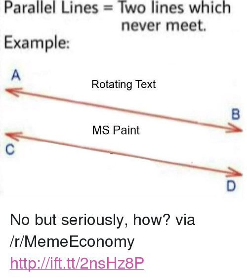 """Http, Paint, and Text: Parallel  Lines  Two  lines  which  never meet.  Example:  Rotating Text  MS Paint <p>No but seriously, how? via /r/MemeEconomy <a href=""""http://ift.tt/2nsHz8P"""">http://ift.tt/2nsHz8P</a></p>"""