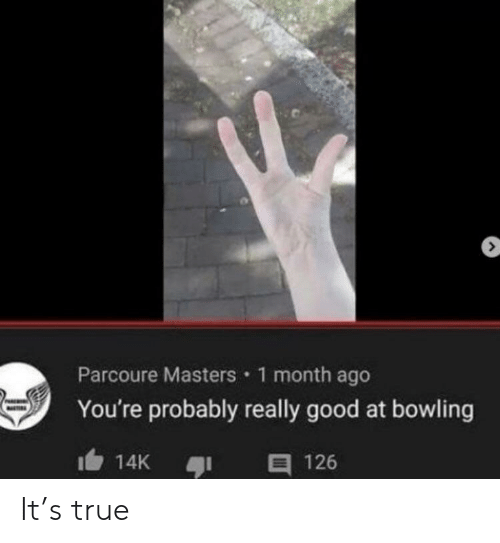 True, Bowling, and Good: Parcoure Masters 1 month ago  You're probably really good at bowling  E 126  14K It's true
