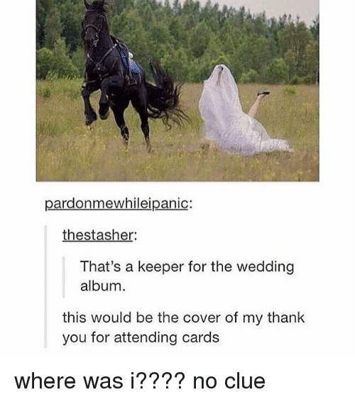 Tumblr, Thank You, and Wedding: pardonmewhileipanic:  thestasher  That's a keeper for the wedding  album  this would be the cover of my thank  you for attending cards where was i???? no clue