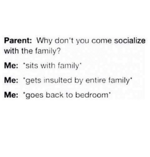 Family, Memes, and Back: Parent: Why don't you come socialize  with the family?  Me: sits with family  Me: gets insulted by entire family  Me: 'goes back to bedroom