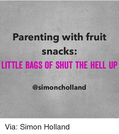 Memes, Hell, and 🤖: Parenting with fruit  snacks:  LITTLE BAGS OF SHUT THE HELL UP  Simoncholland Via: Simon Holland