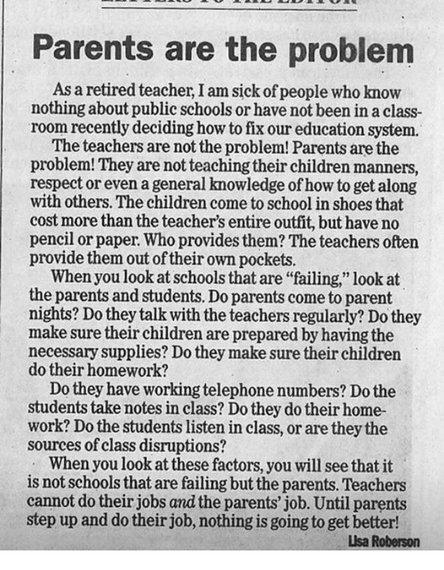 the problem with our schools When talking about 'our' problems maybe the author should try to embrace a wider world view  instead our schools should be teaching look at every situation .