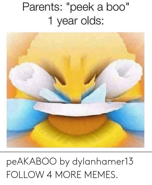 """Boo, Dank, and Memes: Parents: """"peek a boo""""  1 year olds: peAKABOO by dylanhamer13 FOLLOW 4 MORE MEMES."""