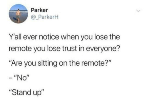 "Dank, 🤖, and Parker: Parker  @ ParkerH  Y'all ever notice when you lose the  remote you lose trust in everyone?  ""Are you sitting on the remote?""  - ""No""  ""Stand up"""