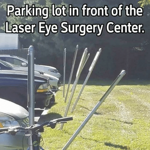Dank, 🤖, and Eye: Parking lot in front of the  Laser Eye Surgery Center.