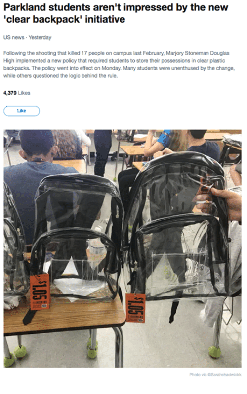 Parkland Students Aren t Impressed by the New  Clear Backpack ... 63b69092446d