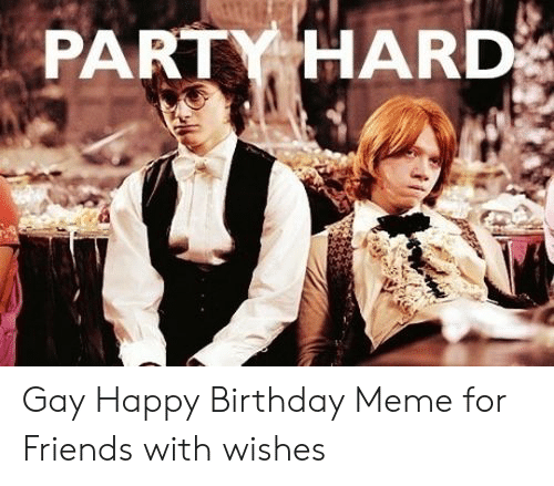 Birthday, Friends, and Meme: PARTY HARD Gay Happy Birthday Meme for Friends with wishes
