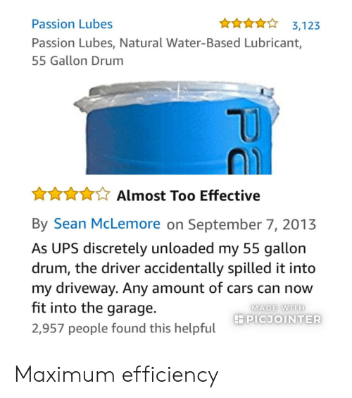 Cars, Ups, and Water: Passion Lubes  Passion Lubes, Natural Water-Based Lubricant,  55 Gallon Drum  10  ☆★☆ Almost Too Effective  By Sean McLemore on September 7, 2013  As UPS discretely unloaded my 55 gallon  drum, the driver accidentally spilled it into  my driveway. Any amount of cars can now  fit into the garage.  2,957 people found this helpful  MADE WITH  PICJOINTER Maximum efficiency