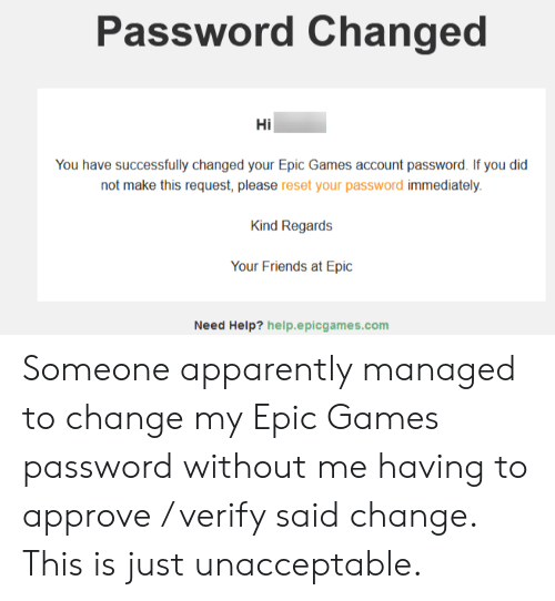 Password Changed Hi You Have Successfully Changed Your Epic Games